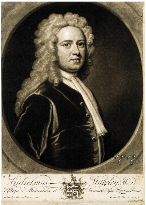 William Stukeley. Mezzotint by J. Smith, 1721, after Sir G. Credit: Wellcome Library, London. Wellcome Images images@wellcome.ac.uk http://wellcomeimages.org William Stukeley. Mezzotint by J. Smith, 1721, after Sir G. Kneller, 1721. Published: - Copyrighted work available under Creative Commons Attribution only licence CC BY 4.0 http://creativecommons.org/licenses/by/4.0/